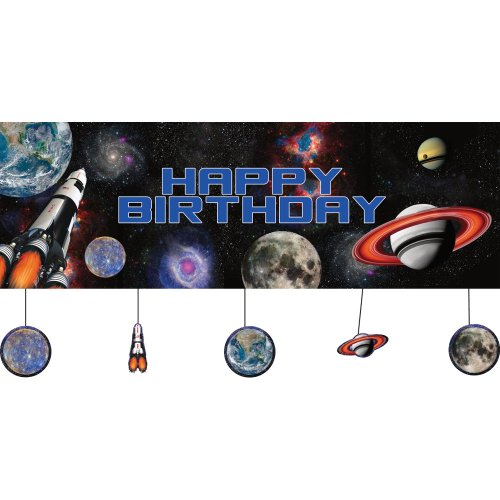 Creative Converting Space Blast Party Banner w/ Hanging Attachments (Each) -