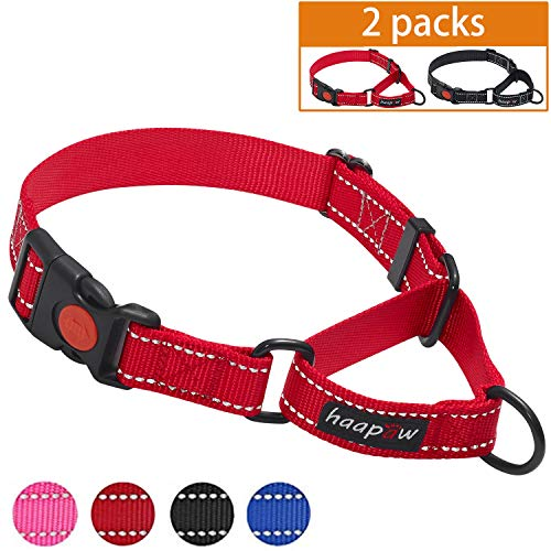 Release Buckle Collar - haapaw Martingale Dog Collar with Quick Release Buckle Reflective Dog Training Collars for Small Medium Large Dogs(2 Packs) (Large, Black/Red)