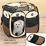 "Zenol Pet Playpens for Dog Cat Puppy Exercise Kennel For Small 45"" Medium 56"", Indoor And Outdoor Playpen. With Carry Bag. Easily To Sets Up, Foldable, Portable and Space Free (Large, Brown)"