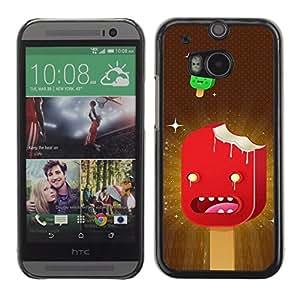 Qstar Arte & diseño plástico duro Fundas Cover Cubre Hard Case Cover para HTC One M8 ( Ice Cream Art Cartoon Characters Red Stars)