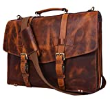 Addey Supply Company 17' Leather Briefcase Satchel Bag 17 X 5 X 12 inch Caramel
