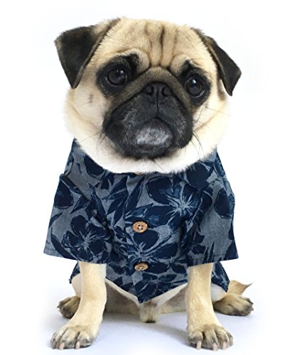 Dog Threads™ Denim Dog Shirt by Cool Breeze BBQ Shirt Denim Floral Print Button Down Dog Shirt Navy (XS - Breed Denim Shirt