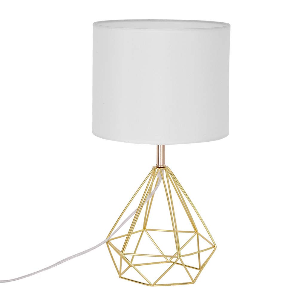 CreazyBee Golden Openwork Idyllic Modern Style Bedroom Living Room Table Lamp Red Copper Color (Gold) by CreazyBee