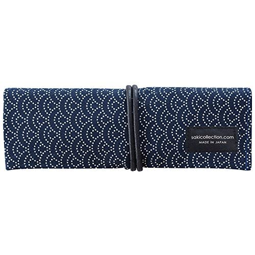 Hot 1 X Saki P-661 Roll Pen Case with Traditional Japanese Fabric - Navy for cheap
