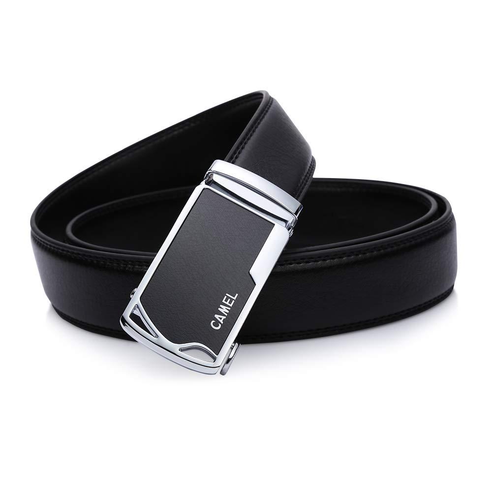 CAMEL CROWN Cinturón de cuero para hombres, Business Casual Hombre Cinturón de trinquete con hebilla deslizante Personality