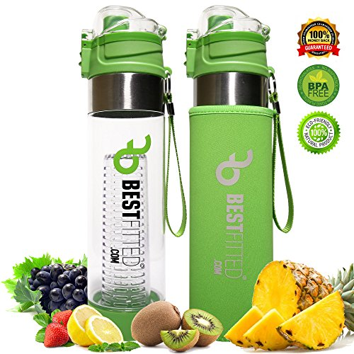 Best Fitted Fruit Infused Water Bottle | Bottom Infusing - Locking Flip-top lid | Gift Sleeves Neoprene insulating sleeve | Premium Leak Proof - BPA Free Tritan Plastic - 24 OZ