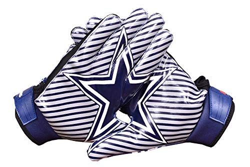 LYCOS GEARS Dallas Cowboys Blue Star Football Gloves Receiver (Youth/Kids/Adults Sizes) (Adult-XLarge)