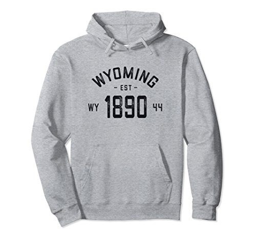 Unisex Vintage Wyoming Hoodie Sweatshirt - Wyoming Gifts WY USA Medium Heather Grey