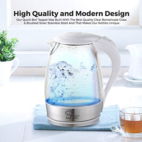 Electric Tea Kettle Cordless Glass Pot 1 7 Liter