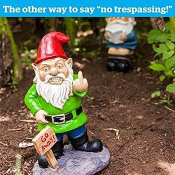 BigMouth Inc Go Away Garden Gnome, Funny Lawn Gnome Statue, Naughty Gnome Garden Decoration, 9 Inches Tall