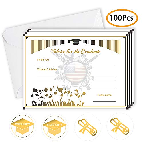 100 Pcs-Graduation Advice Cards(30 advice cards with 30 envelopes and 40 Stickers) for The Graduate For College, High School,advice Cards