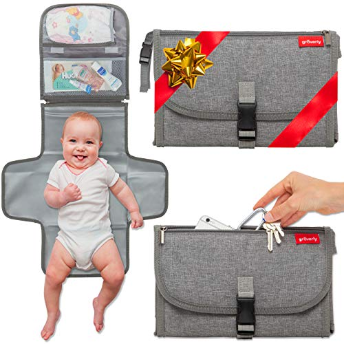 Portable Diaper Changing Pad - Baby Travel Changing Station Mat Clutch   Slim Hygienic Durable   Memory Foam Comfort Pillow   Diaper Bag Accessories   Baby Shower Gifting by Groverly
