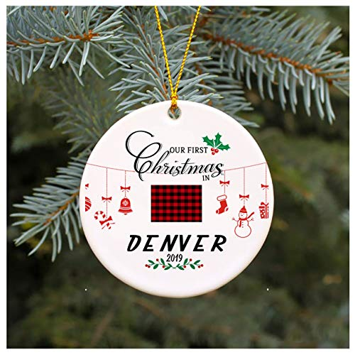 Our First Christmas In Denver Colorado Gift Unique Xmas Ornament Ceramic Housewarming Gift For New House Gift Tree Decoration Long Distance Relationship 3