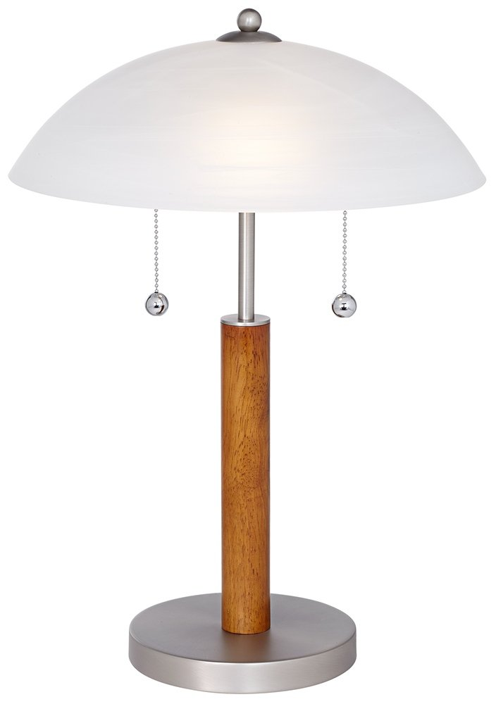 Orbital 19 1/2'' High Brushed Steel and Wood Table Lamp