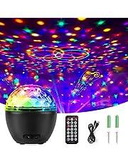 Qxmcov Led-discobol, feestlicht, led-projectorlamp, verlichting, muzieklichteffecten, met afstandsbediening, voor Kerstmis, Xmas, party, bar, club, decoratie