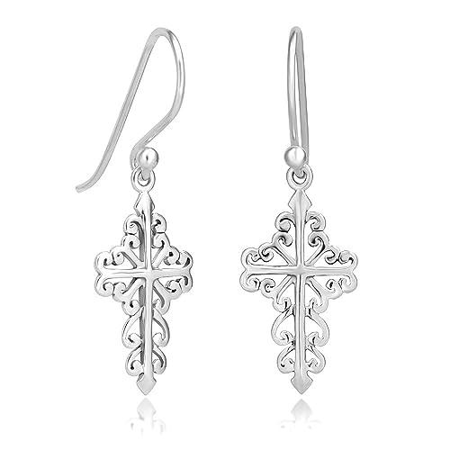 98671781e Amazon.com: 925 Sterling Silver Celtic Filigree Cross Dangle Hook Earrings:  Sterling Silver Earrings Cross Chuvora: Jewelry
