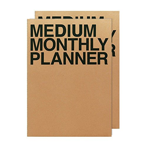 JSTORY Medium Monthly Planner Set of 2 Undated Column Format Eco Friendly Customizable A5 16 Months 18 Sheets Each Kraft