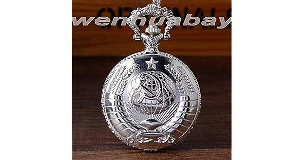 Amazon.com: Reloj de bolsillo con insignia soviética, diseño ...