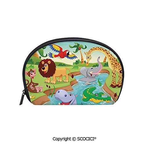 SCOCICI Durable Printed Makeup Bag Storage Bag Cartoon Safari African Animals Swimming in the Lake Elephant Lions And Giraffe Art for Women Girl Student