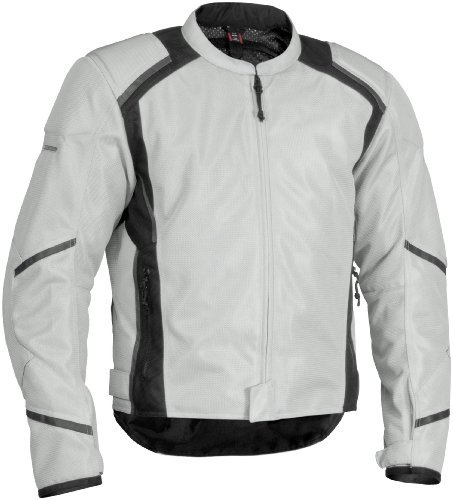 Jacket Mesh Tex Leather (Firstgear Mesh-Tex Jacket , Gender: Mens/Unisex, Size: 4XL, Distinct Name: Silver, Primary Color: Silver, Apparel Material: Textile)