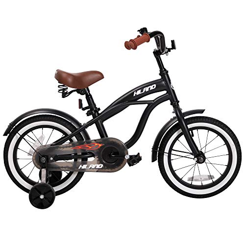 HILAND 16 Inch Kids Bike for 4 5 6 Years Boys, Boy's Bicycle with Training Wheels,Children's Beach Cruiser Bike, Gift for Boys, Black Kids Cycle (Dino Bmx Bikes)