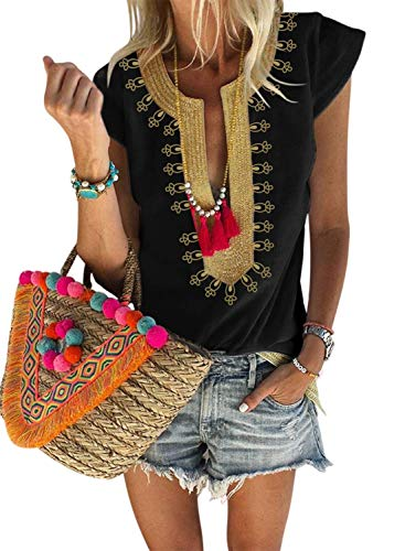 Womens Fashion Blouses V Neck Bohemian Half Sleeve Tops Tribal Printed Flowy Casual Shirts Black XL