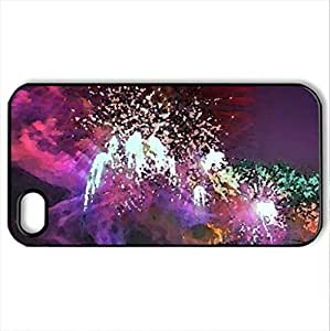 amazing fireworks in sydney bay - Case Cover for iPhone 4 and 4s (Bridges Series, Watercolor style, Black)