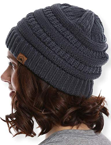 Beanie Knit Cable Womens - Tough Headwear Cable Knit Beanie - Thick, Soft & Warm Chunky Beanie Hats for Women & Men - Serious Beanies for Serious Style