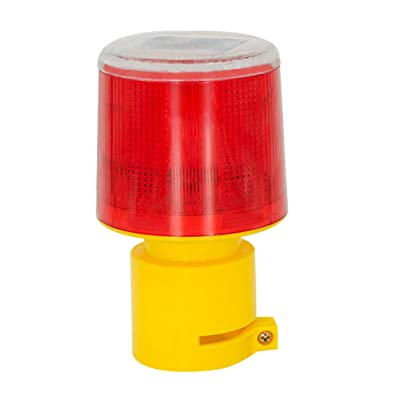 DE-Spark Emergency LED Solar Powered Strobe Warning Light, Road Construction Cone Traffic Light Flicker Beacon Lamp (Round Base): Home Improvement