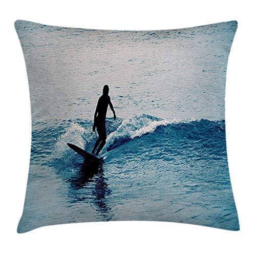 Surfing Decor Throw Pillow Cushion Cover Silhouette a Woman in The Sea Exotic Sports Activity Hobby Leisure Fun Picture 18 X18 ()