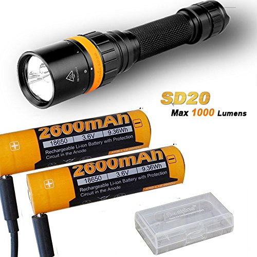Fenix SD20 1000 Lumen CREE LED 100 meter submersible Diving Flashlight with 2 x ARB-L18-2600U battery,USB charge cable,battery case