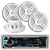 Kenwood KMRM315BT Waterproof Bluetooth Marine Boat Yacht Digital USB AUX Radio Stereo Player With 4 X 500 Watts 7.7-Inch 2 Way Marine Audio Speakers System - Complete Marine Outdoor Audio Package