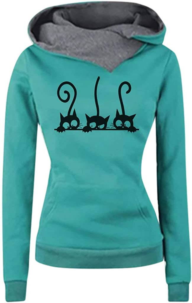 ZUong2 Womens Funnel Neck Hoodies Casual Cat Print Long Sleeve Cowl Neck Hooded Sweatshirt Slouchy Pullover with Pocket