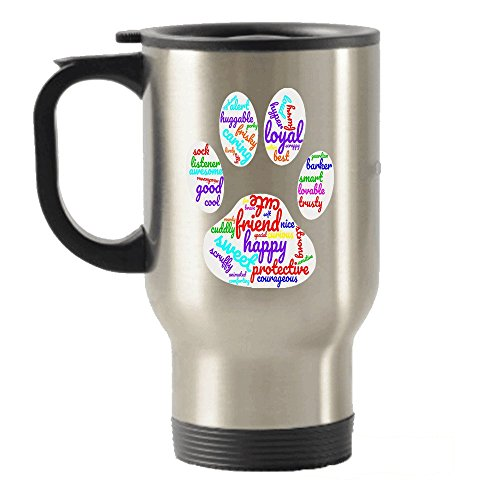 Dog Paw Word Cloud Stainless Steel Travel Insulated Tumblers Mug