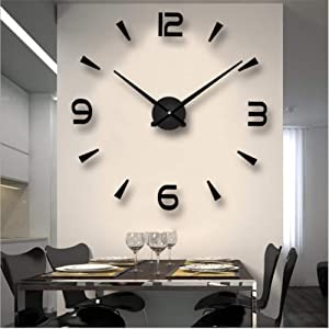 FASHION in THE CITY 3D DIY Wall Clock Creative Design Mirror Surface Home Decor Wall Sticker Clocks (Black)