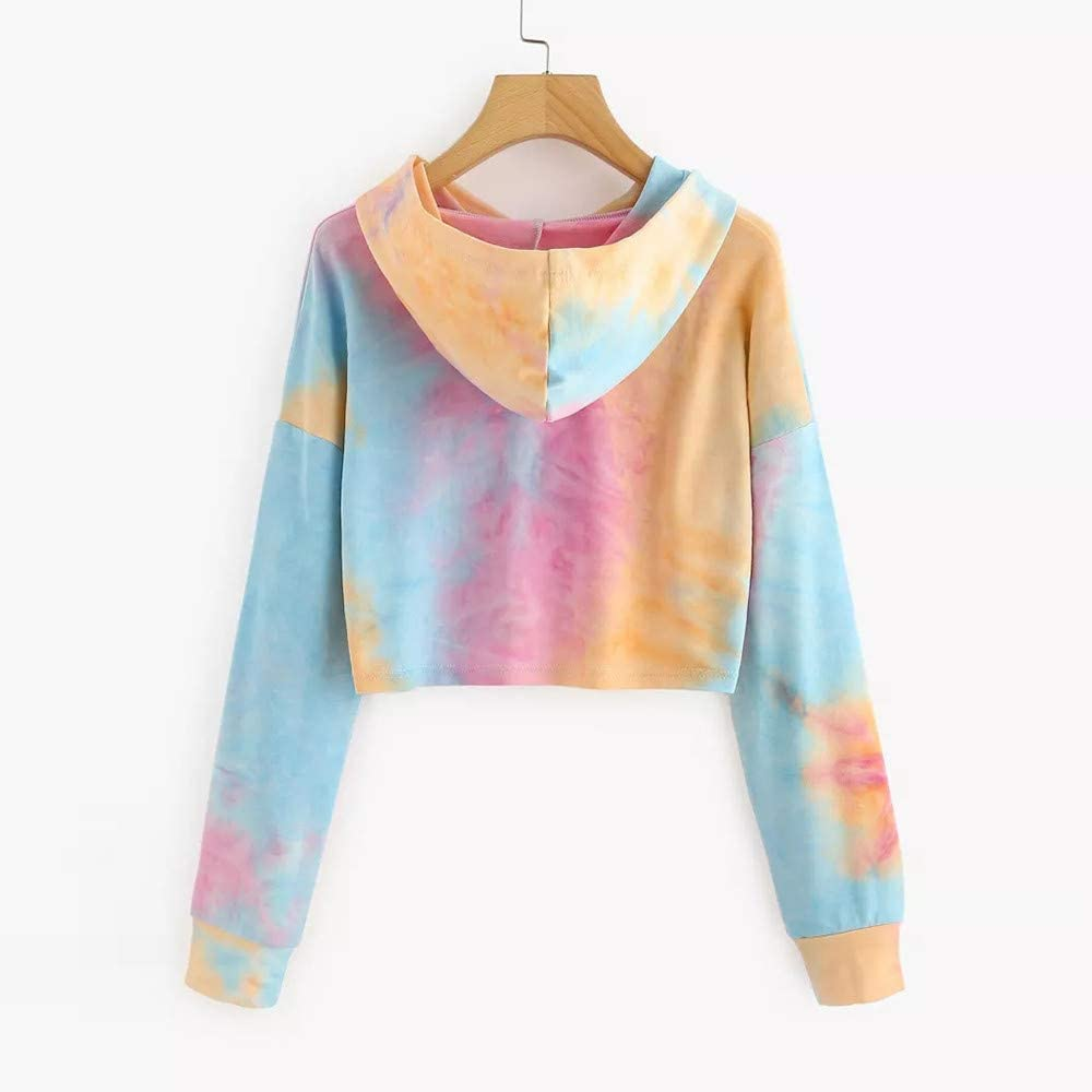 COOKI Women Teen Girls Crop Sweatshirt Patchwork Tie Dye Long Sleeve Crop Top Hooded Sweatshirt Jumper Pullover Tops Hoodies