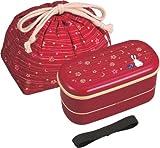 Japanese Traditional Rabbit Moon Bento Box Set - 620ml 2 Tier Bento Box, Chopsticks, Bento Bag (Red)