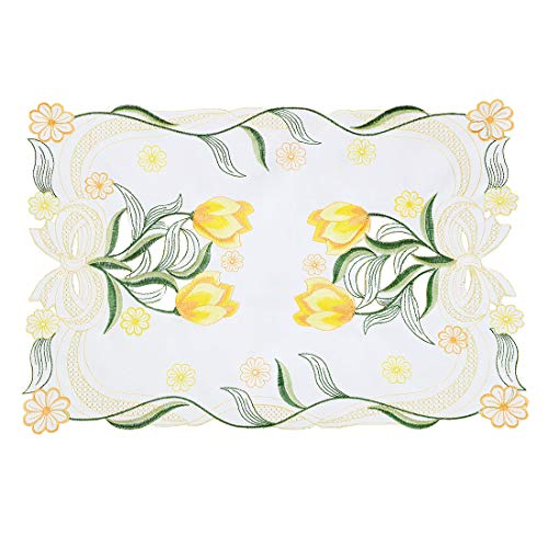 (Simhomsen Decorative Spring Tulip Floral Table Placemats (Yellow, 13 × 19 Inch Set of)