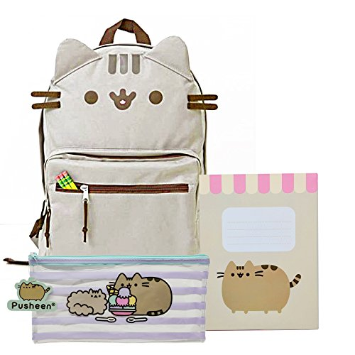 Face Scalloped (Pusheen The Cat Back to School Set Cat Face Backpack, New Scalloped Design Notebook Striped Pencil Case - Gift Student)