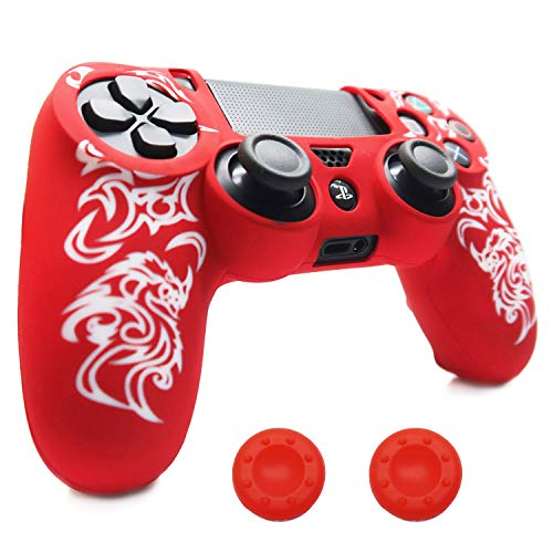 - PS4 Controller Skin Cover, BRHE DualShock 4 Silicone Protector Case Accessories Set for Sony Playstation 4/PS4 Slim/PS4 Pro Wireless/Wired Gamepad Joystick with 2 Thumb Grips Caps (Red)
