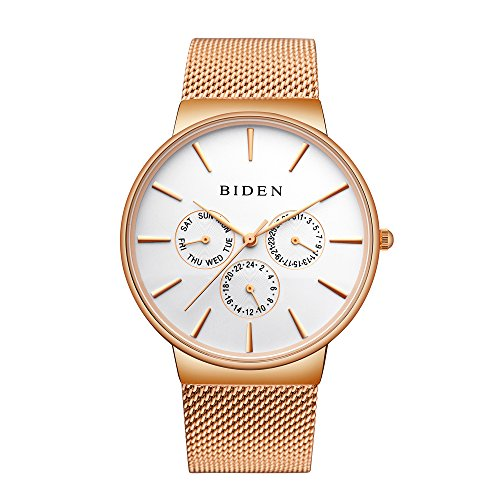 Unisex Stainless Steel Wrist Watch - Rose Gold - 5