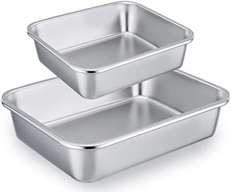 TeamFar Lasagna Pan Set of 2, Brownie Pan Rectangle Cake Pan Stainless Steel, Heavy Duty Healthy, Easy Clean Dishwasher safe, Brushed Surface-13 10 inch