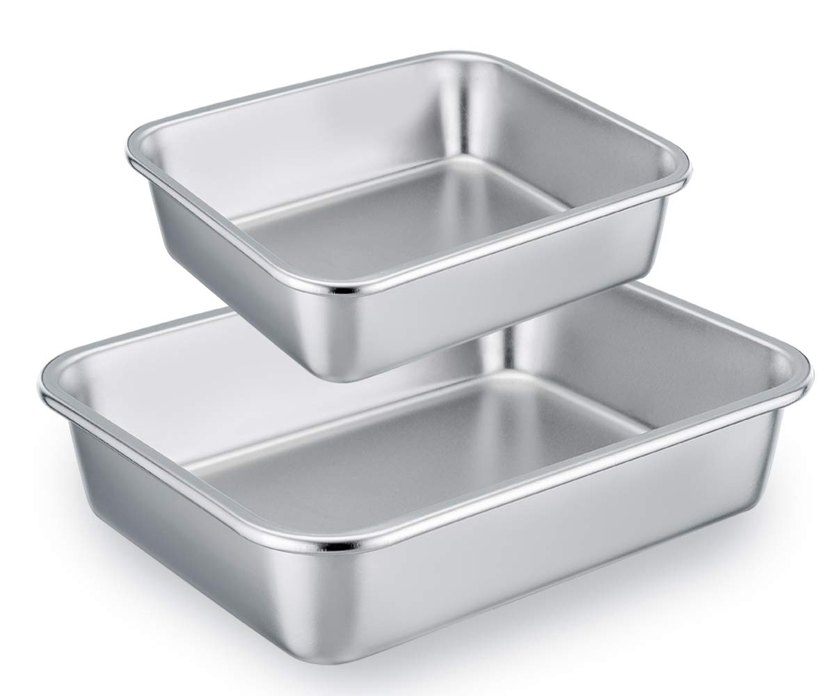 TeamFar Lasagna Pan Set of 2, Brownie Pan Rectangle Cake Pan Stainless Steel, Heavy Duty & Healthy, Easy Clean & Dishwasher safe, Brushed Surface-13 & 10 inch by TeamFar