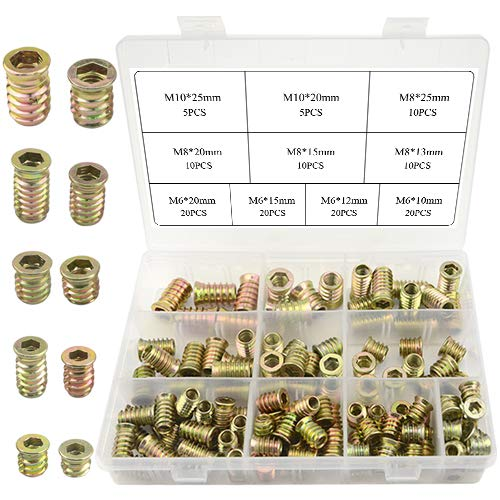 TOVOT 130 PCS 10 Sizes Threaded Insert Nuts Kit Furniture Screw-in Nut for Wood Furniture