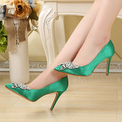 Shoes Slip Stiletto Top Rhinestones Pointed On Green Toe Low Aisun Women's Heels Court High 4w7q66