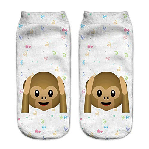 GSYDWZZH 5pcs 3D Socks Emoji 3D Monkey Print