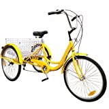 Popsport 24 Inch Adult Tricycle 6/7 Speed 3 Wheel Trike Cruise Bike Cruise Cargo Bike with Large Basket for Riding (Yellow 6 Speed)