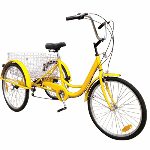 (Popsport 24 Inch Adult Tricycle 6/7 Speed 3 Wheel Trike Cruise Bike Cruise Cargo Bike with Large Basket for Riding (Yellow 6 Speed))