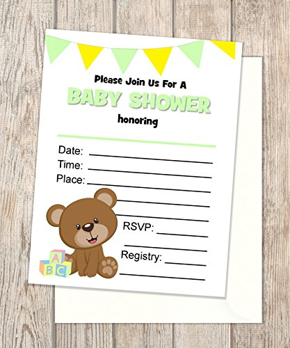 Baby Teddybear Fill In Blank Invitations Flat Cards Set Of 20 Gender Neutral Teddy Bear Baby Shower Invitations With Envelopes Flat Card