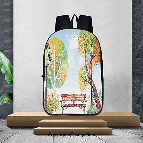 (3D Printing Student School Backpack,LanternColorful Fall Trees Wooden Bench Lantern in Park on Blue Sky Street Lamps Decorative,16.5